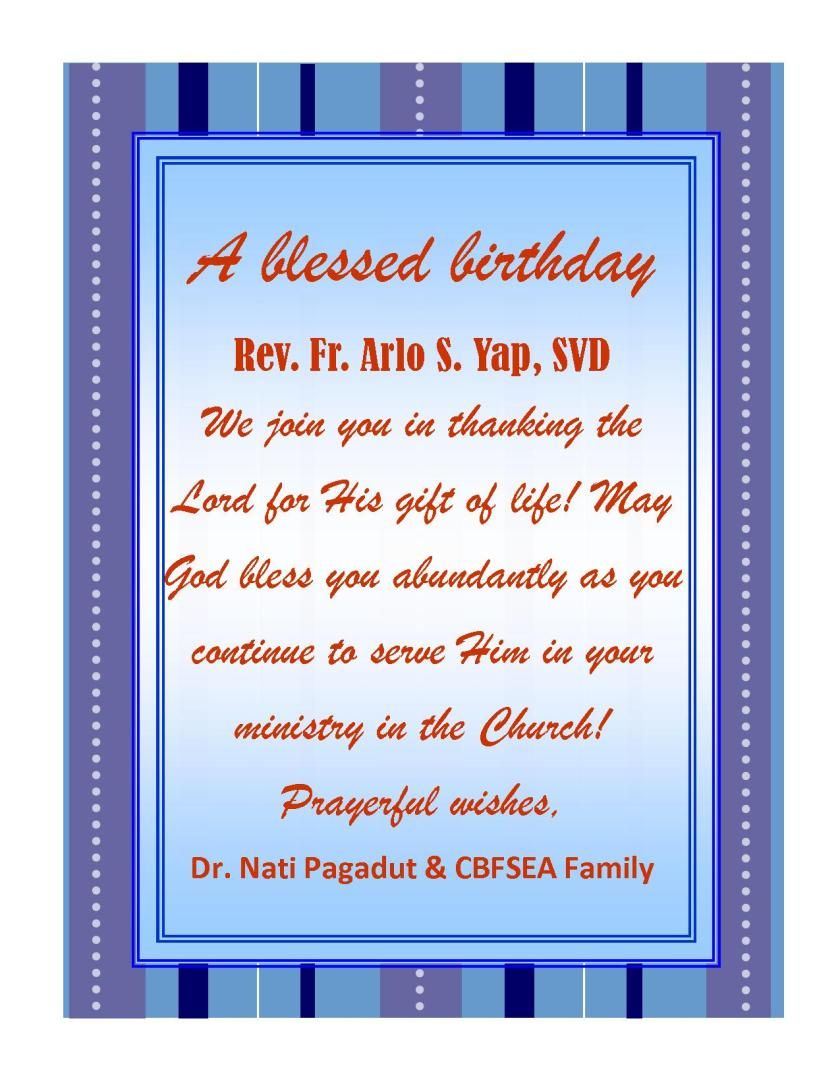 Birthday greetings catholic biblical federation of south east asia birthday m4hsunfo